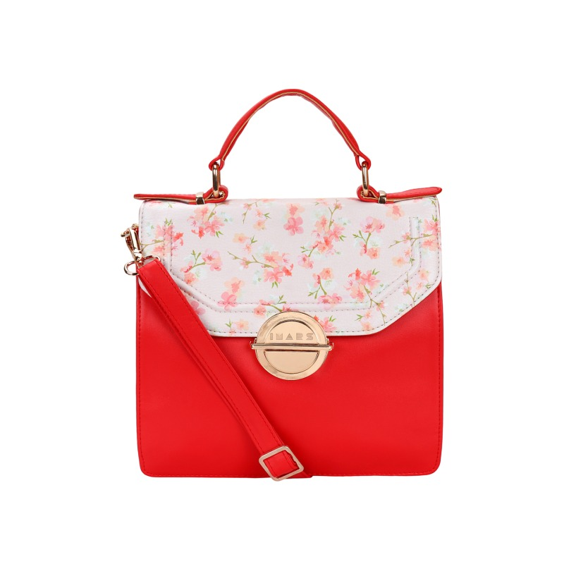 Imars nouveau Satchel with top handle for women(red)